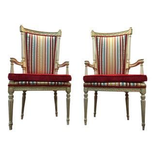 Velvet Striped Veranda Chairs - A Pair