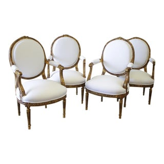 Antique Giltwood Louis XVI Style Fauteuils in White Belgian Linen - Set of 4
