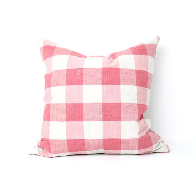 Image of Antique French Vichey Check Pillow
