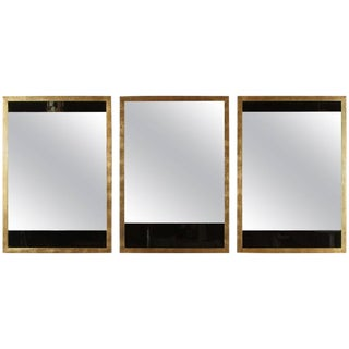 Paul Marra Black and Clear Glass Mirrors