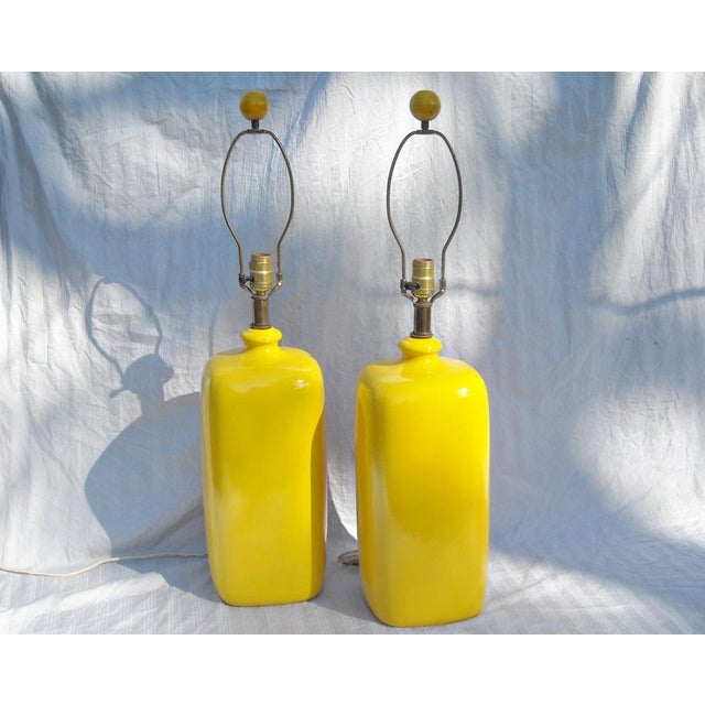 Mid Century Modern Vibrant Yellow Lamps - Pair - Image 2 of 8