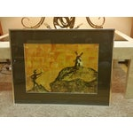 Image of Mid-Century Don Quixote & Windmill Oil Painting