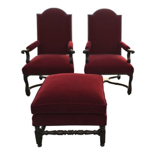 Paul Ferrante Designer Red Velvet Arm Chairs and Ottoman - Set of 3
