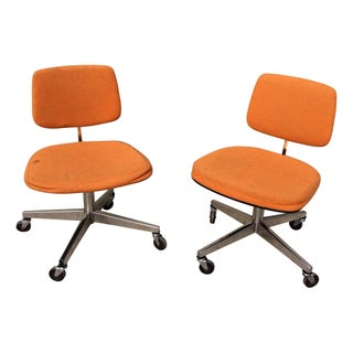 Mid-Century Style Orange Swivel Office Chairs