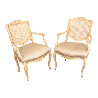 Louis Style Carved Wood White Chairs - a Pair