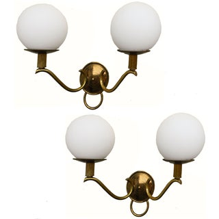 1950s Adnet French Ball Sconces - a Pair