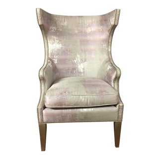 Pink & White Distressed Wingback Armchair