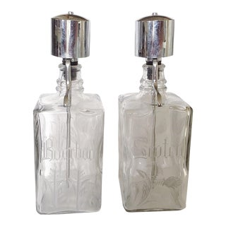 Etched Glass Liquor Dispensers - A Pair
