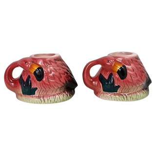 Sitting Flamingos Candle Holders - A Pair