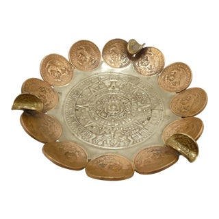 Vintage Brass & Copper Coin Aztec Calendar Ashtray