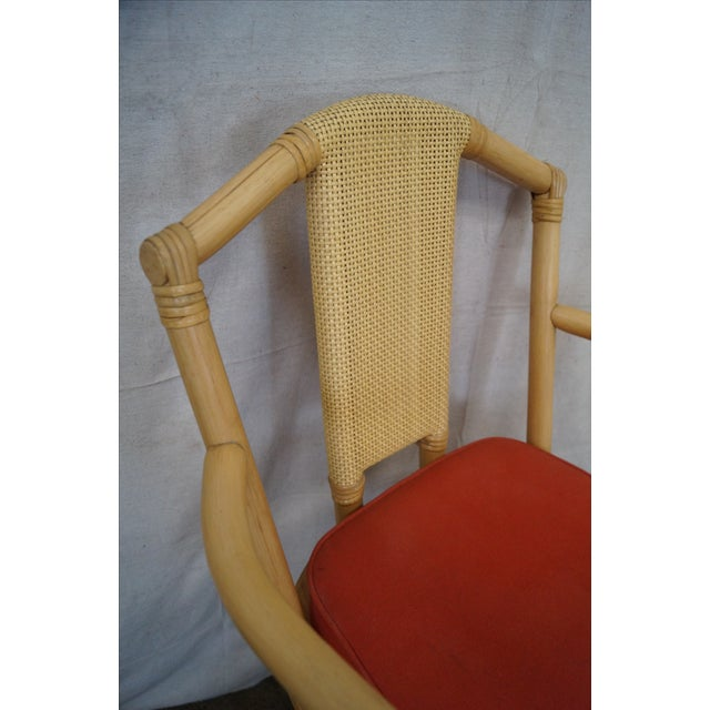 Image of Vintage Bent Bamboo & Rattan Swivel Bar Stools - 3