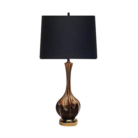 Image of 1960s Brown Drip Glaze Lamp
