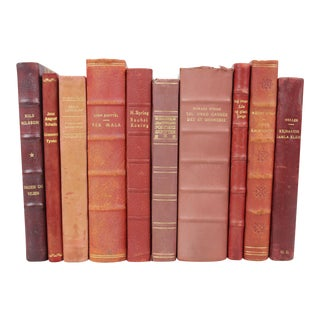 Red Hues Leather Bound Books - Set of 10
