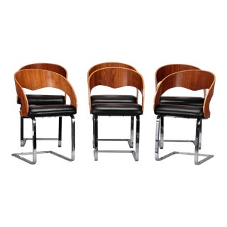 Mid Century Set Six Beech Leather and Steel Chairs