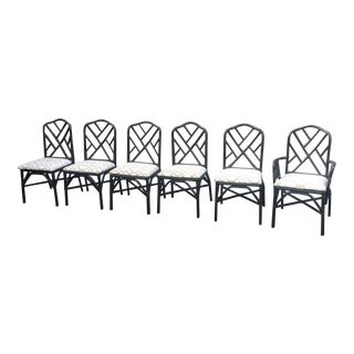 Vintage Faux Bamboo Chippendale Dining Chairs - Set of 6