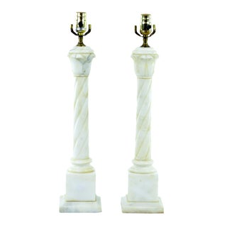 Alabaster Marble Column Lamps - Pair