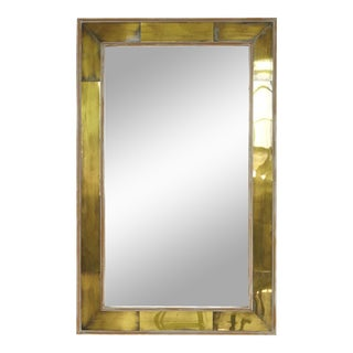 Modern Wall Mirror with Lacquered Brass Inlays and White Washed Wood Frame