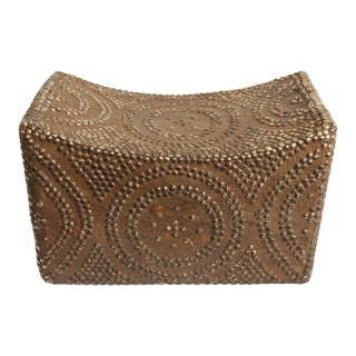 Brown Studded Foot Stool from Angola
