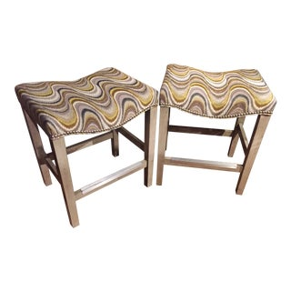Upholstered Saddle Seat Counter Stools - A Pair