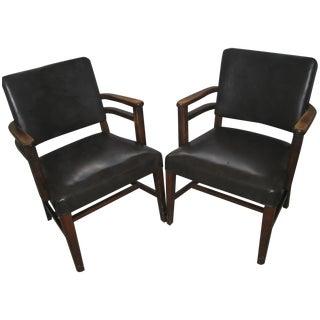 Vintage Black Nailhead Armchairs - A Pair