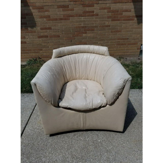 John Saladino for Baker Leather Swivel Lounge Chair - Image 6 of 11
