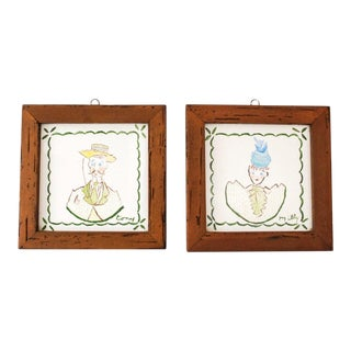 Mid Century Villeroy & Boch Hand Painted Ceramic Framed Wall Tiles - A Pair