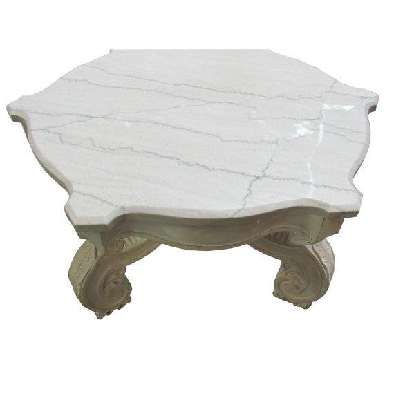 Kimball Marble Coffee Table: Italian Marble Carved Base Coffee Table