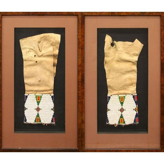 Pair of Framed Sioux Beaded Leggings, Turn of the 20th Century