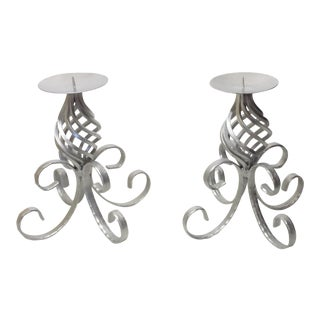 Vintage Wrought Iron Silver Candle Holder - A Pair
