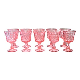 Pink Depression Glass Wine Glasses - Set of 10