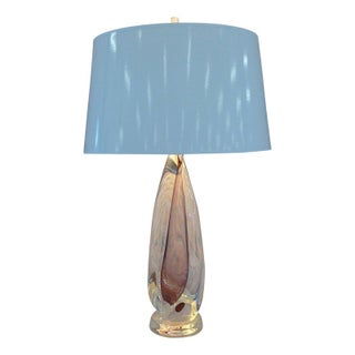 Amber Lucite Twisted Lamp