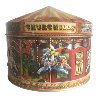 Vintage Churchill's Of London Carousel Candy Tin Box