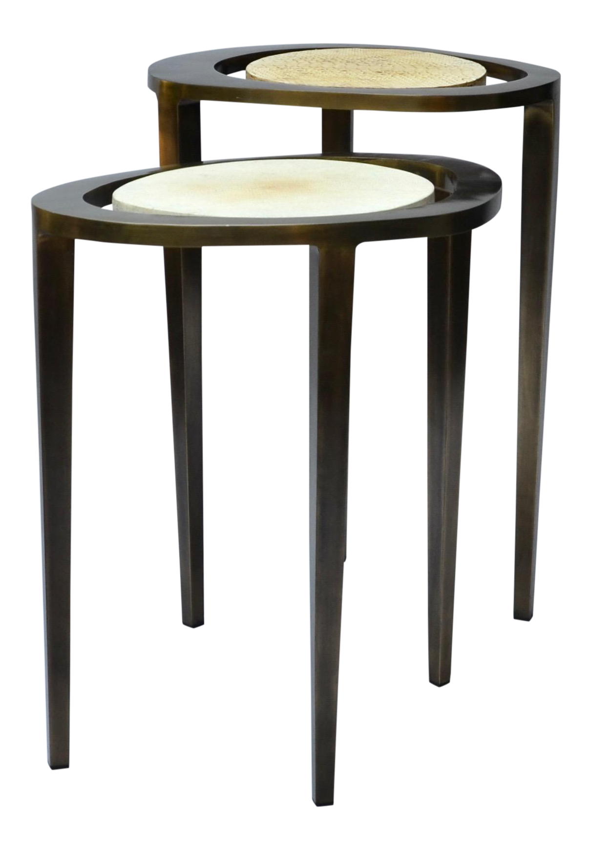 r u0026 y augousti bronze nesting side tables