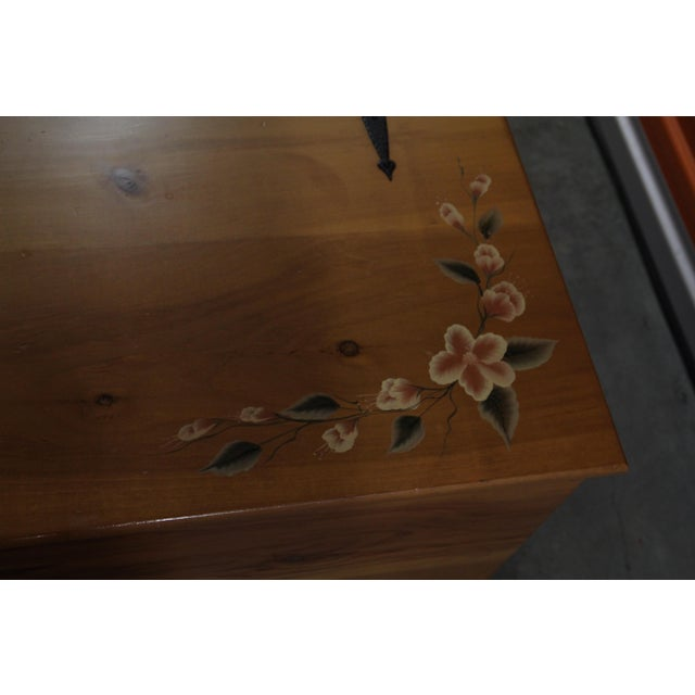 Amish Handmade Solid Wood Floral Design Trunk - Image 5 of 11