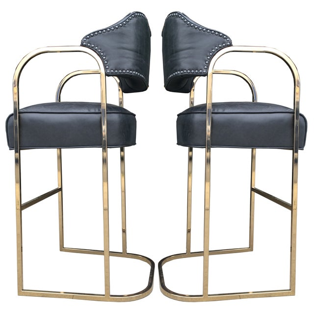 Empiric Leather Lawatch Bar Stools - A Pair - Image 1 of 3