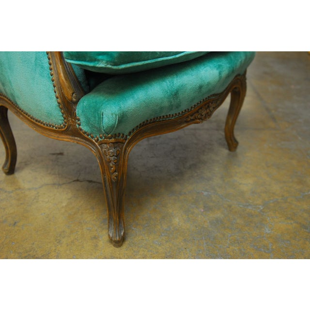 Louis XV Turquoise Velvet Wingback Chairs - Image 6 of 7