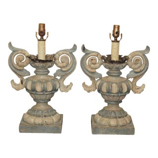 Pair of Italian Wood Carved Lamps
