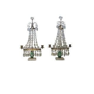 Antique Crystal Girandole's Candleholders - A Pair
