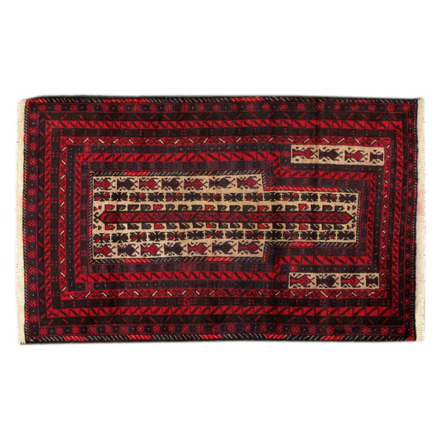 "Apadana - Vintage Red Baluch Rug - 2'10"" X 4'6"" - Image 1 of 2"