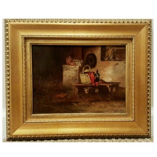 19th Century Antique Oil Painting, Cats in Stable
