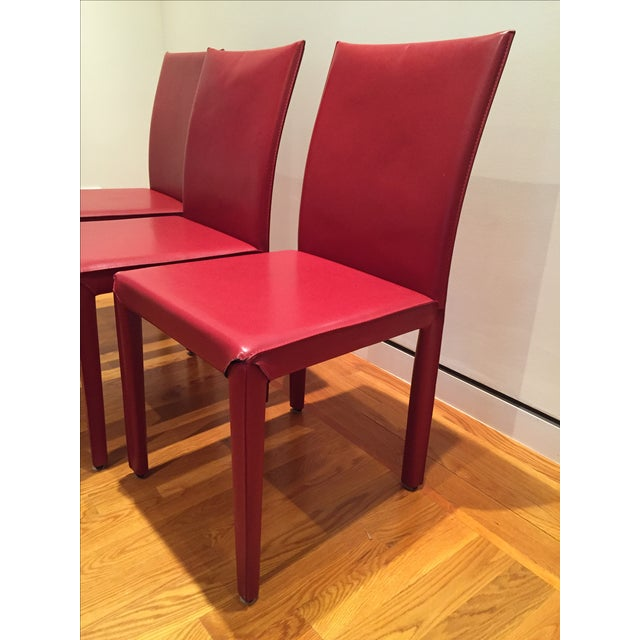 Red Leather Dining Chairs - Set of 10 - Image 3 of 8