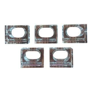 Modernist Lucite Cube Napkin Rings - Set of 5
