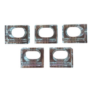 Set of 5 Vintage Lucite Cube Napkin Rings