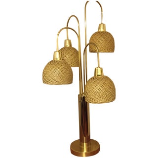 Mid-Century Brass & Wicker Lamp