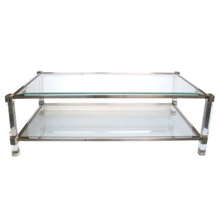 Chic French Pierre Vandel Nickel, Glass and Lucite Rectangular Coffee Table