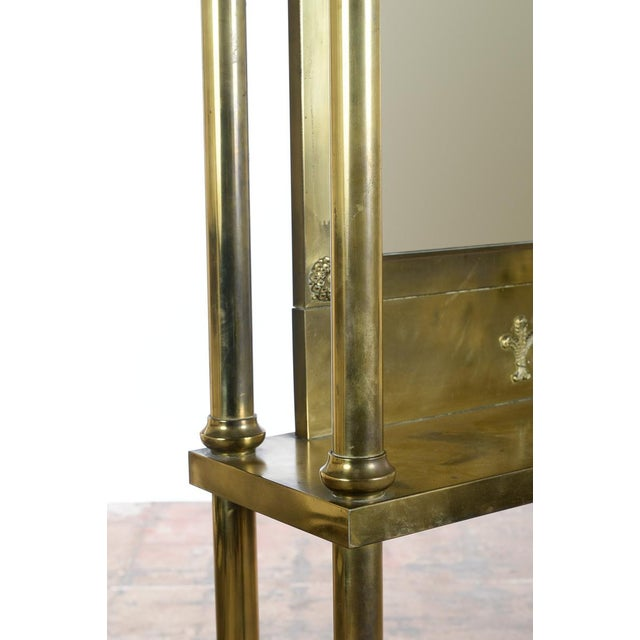 Antique Victorian Brass & Beveled Mirror Hall Tree - Image 3 of 9