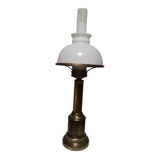 French Country Glass & Brass Table Lamp