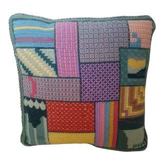 Vintage Needlepoint Pastel Geometric Throw Pillow