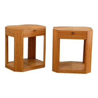 Divine Pair of Vintage Split Bamboo End Tables or Night Stands