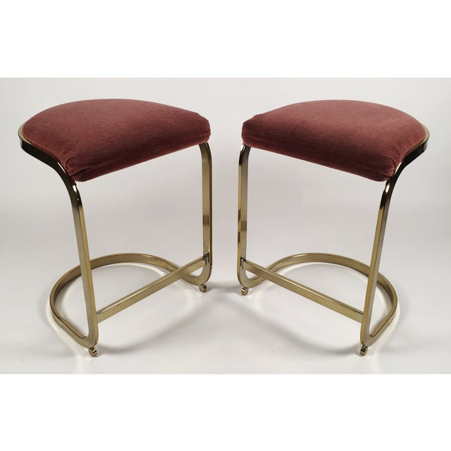 Milo Baughman Style Cantilever Bar Stools - A Pair - Image 2 of 7